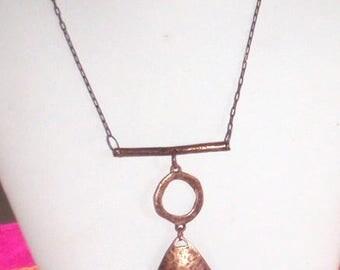 Hammered Antique Copper Pendant Chain Necklace