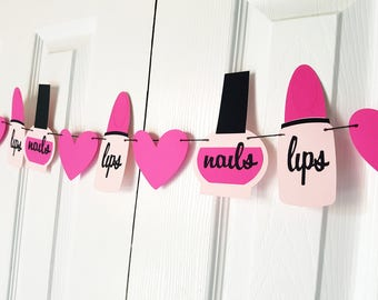 Make Up Garland, Spa Party Banner, Tween Birthday, Girly Birthday Party Decor, Bachelorette Party Decor, Baby Shower Decor