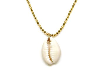 Necklace Cowrie Shell on Gold Bead Chain Adjustable Mininmal Jewelry 16.25 to 19.25 Inches