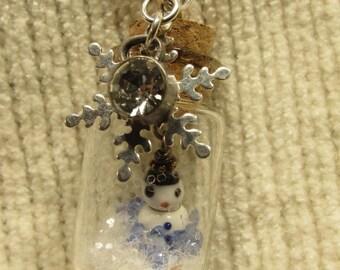 Snowman Glitter Jar Necklace
