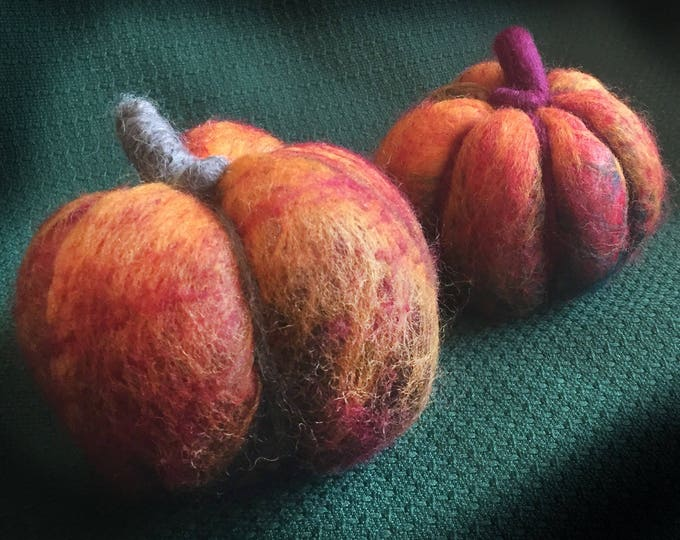 Large/Small Felted Pumpkins, Handmade, Set of two, Thanksgiving Pumpkins, Halloween Accents, Thanksgiving Decor, Felted Sculpture, Pumpkins