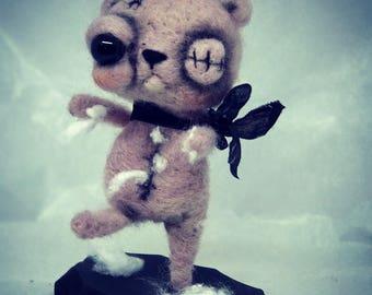 Penny the pink zombie teddy bear Ooak art doll