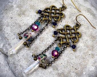 Raw Crystal Earrings - Celtic Earrings - Extra Long Earrings - Crystal Earrings - Colorful Earrings - Bohemian Jewelry - Rainbow Earrings
