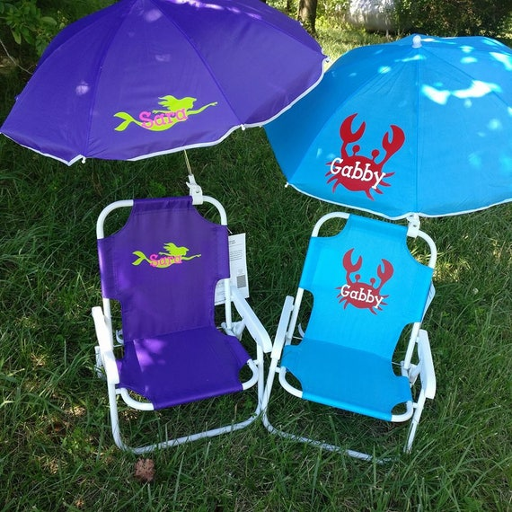 Toddler Kids Childrens Beach Chair And Umbrella Monogrammed