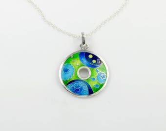 Circulo  - cloisonne enamel pendant, fine silver pendant