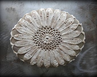 Crocheted Stone, Original Handmade One of a Kind Design, Lace, Decorative Doily, Home Decor, Flower, Shades of Ecru, Thread, Large, Monicaj