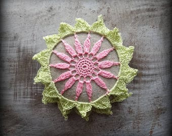 Crocheted Stone, Handmade One of a Kind Unique Decorative Doily Rock, Flower, Bohemian Beach, Small, Pink, Green, Miniature Art, Monicaj