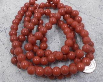 115 Rust Brown Glass Beads 8mm (H2497)
