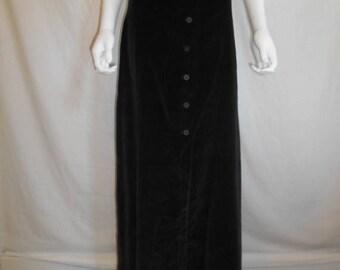 Closing Shop 40%off SALE 70's Black Velvet Skirt, Button Down Skirt NWT