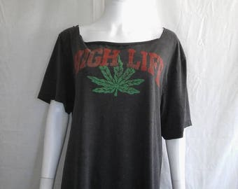 Closing Shop 40%off SALE WEED 90s faded thrashed HIGH Life  t shirt