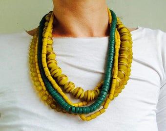 Quintet of Beautiful Yellow & Aqua Glass Trade Bead Necklaces . Nepalese/Tibetan. Tribal. Beautiful!!