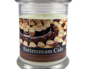 Buttercream Cake Soy Candle by Candeo Candle, 9 oz size Glass Jar