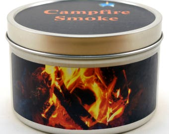 Campfire Smoke Soy Candle by Candeo Candle, 6 oz size in a Travel Tin