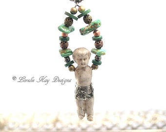 Turquoise Soldered Doll Necklace Frozen Charlotte Doll Pendant Organic Natural Look Lorelie Kay Original