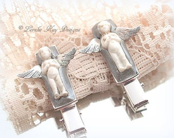 Frozen Charlotte Angel Doll Barrettes One-of-a-kind Mixed Media Tiny Angel Doll Hair Clips Lorelie Kay Designs