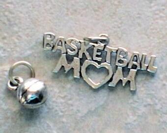 Sterling Silver Basketball Mom and Basketball Charms