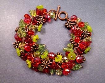 SALE - Cha Cha Bracelet, Flower Bouquet, Red Orange and Green Charm Bracelet, Copper Beaded Bracelet, FREE Shipping U.S.