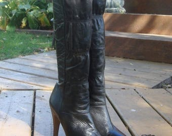 30% OFF Vintage Black Leather Knee High Boots Size 7 1/2, Made in Brazil