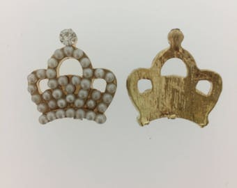 Clearance Sale Gold Crown Encrusted With Pearls And Gemstone  Flatback 10 Pieces