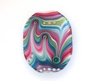Michal S- Glass Art oval Lampwork focal bead. Ready to ship
