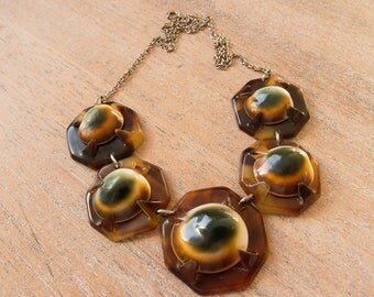 Antique Victorian Operculum and Celluloid Faux Tortoise Shell Cats Eye Necklace