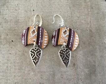 Paire de boucles d'oreilles - ocre / bordeaux - nouvelle collection