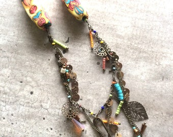 Necklace with multicolored charms - new collection