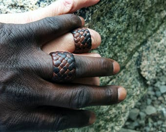 Kama Leather Ring, Braided Leather Ring, Men's Women's Leather Rings, Engagement Ring, Woven Wedding Bands, Anniversary Ring, Boho Jewelry