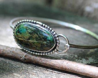 Plume agate sterling silver bangle bracelet