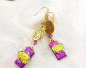 Fused dichroic glass jewelry, Dichroic handmade earrings, Hana Sakura, pink earrings, glass fusion,  statement earrings, dichroic jewelry