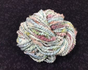 Handspun Art Yarn Bulky Coil Spun Art Yarn 42 yards light blue aqua green pink