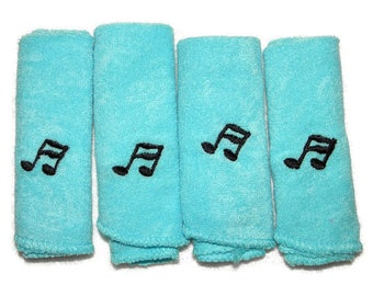 Embroidered Baby Washcloths Set of 4 Baby Blue Cloths with Musical Notes - Ready to Ship