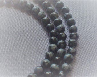 natural gemstone snowflake obsidian smooth round bead 4 mm / 7.5 inch