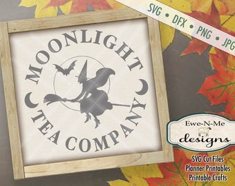 Halloween SVG Cut File - Witch SVG - Moonlight Tea Company  - Commercial svg, dfx, png and jpg files available for instant download