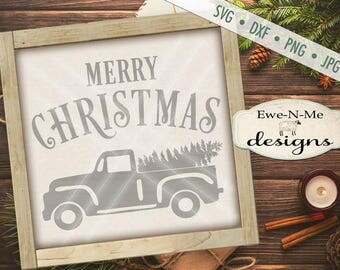 Christmas Tree SVG - Old Truck SVG - truck christmas tree svg - Merry Christmas Antique Truck with tree - Commercial Use svg, dxf, png, jpg