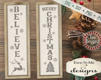 Christmas svg - Merry Christmas svg - Believe svg - Reindeer svg - Vertical Porch Sign svg - Commercial use svg, dxf, png, jpg
