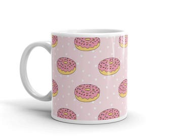 Donut mug, coffee mug, tea mug, gift for coworker, gift for teen, gift for her