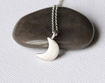 Sterling Silver Moon Necklace, Crescent Moon Charm Necklace, Celestial Jewelry Jewellery, Celestial Necklace