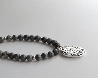 Silver Pendant Necklace, Gray Bead Pendant Necklace, PMC Gemstone Necklace, Fine Silver Pendant, Beaded Metal Work Necklace, Artisan Jewelry