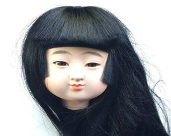 Japanese Doll Head - Girl Doll Head - Ichimatsu Doll Body Part D15-26