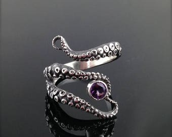 SALE WIcked Tentacle Ring with Amethyst, Wedding Band, Engagement Ring, Occasion