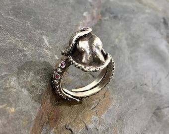 SALE Multi Stone Kraken Ring, Wedding Band, Octopus Ring, Engagement Ring, Tentacle Ring, OctopusME, Sterling Silver, Ring, OOAK,  Sapphire,
