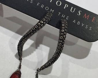 SALE Blood garnet Octopus Earrings, Tentacle earrings, Garnet, Octopus Jewelry, tentacle jewelry, OctopusME