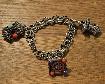 Etruscan Fob Charm Bracelet,800 Silver,Ornate Lanterns, Pyramid Camels,Elephants,Large Chunky Bold