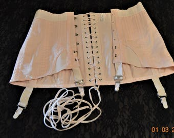 Vintage Corset Boned Girdle, size 36,Soft Pink Chincher,Very Wearable,4 Garters,Lace Up,Open Bottom,40's 50's Pin Up Burlesque