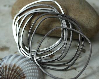 Handmade antique silver tone irregular organic square link connector size aprox 30x20mm, 6 pcs (item ID XMFA00013ASS)
