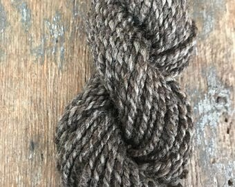 Brown natural undyed grey light bulky weight two ply 56 yards, local natural wool