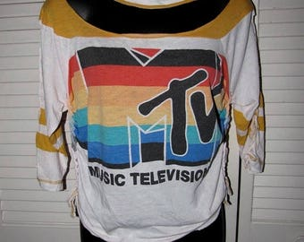 snip snip its my birthday Mtv Music Television shredded super soft thin cut sliced up crochet woven braided long sleeve raglan baseball chok