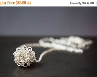 ON SALE Silver Antimatter Pendant, Coiled Wire Ball Science Jewelry Gift For Her, Physics Jewelry