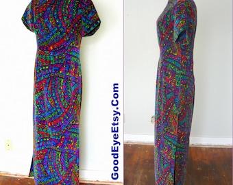 Vintage De Lucieen Velvet Maxi Dress 1960s  / size 6 8 10 / Floor Length Mod Print Short Slv /  Handmade Bevelry Hills